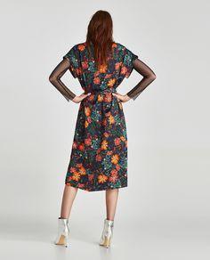 PRINTED MIDI DRESS Zara Outfit, Dress Collection, Wrap Dress, High Neck Dress, Dresses For Work, Prints, Outfits, Fashion, Block Prints