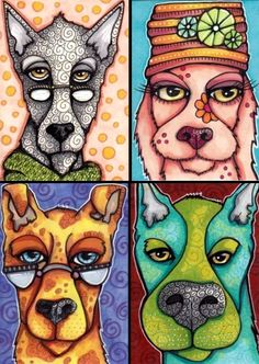 Clockwise from top left: Beatnik Bruce, Flower the Environmentalist, Eddison, Professor Gabriel Each x art cards. Copic markers on smooth Bristol. Dog Pop Art, Dog Art, Pop Art Drawing, Art Drawings, Middle School Art, Art Cards, Artist Trading Cards, Copic Markers, Art Journal Inspiration