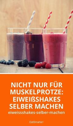Make protein shakes yourself: how it works! Eiweißshakes selber machen: So geht's! Not only for muscle sports: make protein shakes yourself eatsmarter. Protein Desserts, Protein Smoothies, Smoothie Proteine, Healthy Protein, Protein Snacks, Fruit Smoothies, Healthy Drinks, Smoothie Recipes, Detox Drinks