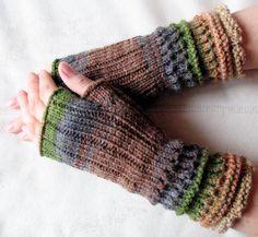 Fingerless Gloves Brown Beige Gray Green wrist by Initasworks