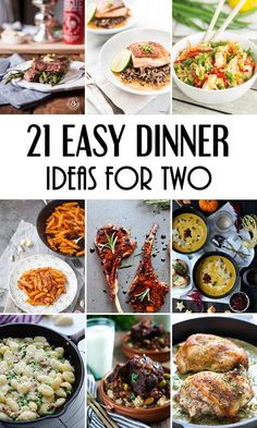 Romantic dinner recipes, quick meals for two, healthy easy dinner for two, easy Easy Meals For Two, Easy Healthy Dinners, Easy Recipes For Two, Easy Dinner For 2, Ideas For Supper, Weekday Dinner Ideas, Small Meals, Meal Ideas For 2, Dinner For The Week