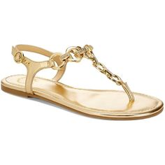 C. Wonder Pave Chain T-Strap Sandal ❤ liked on Polyvore featuring shoes, sandals, flats, flat sandals, sapatos, gold, t-strap shoes, t strap flats shoes, flat shoes and t bar flats
