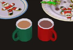 Holiday MugsA tiny holiday-themed gift for you: a set of simple holiday mugs, one red and one green, with a bonus hot chocolate recolour (shown on the right). They are recolours of Nixedsims coffee mug, and the mesh is included.DOWNLOAD