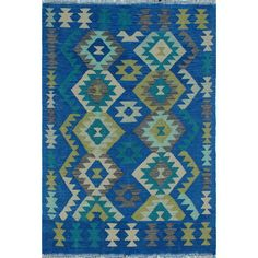 Handmade in Afghanistan by tribal weavers, this flat-weave transforms any space with its dynamic geometric motifs and spectacular coloration. Because of each rug's handmade nature, no two are exactly alike and quantities are limited. To extend the life of this Kilim Hand Woven Wool Blue Area Rug. They recommend to always use a rug pad.