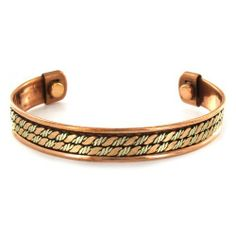 Two-toned Copper Magnetic Pattern Cuff Bracelet - Double Rope West Coast Jewelry. $37.95. Save 45%!