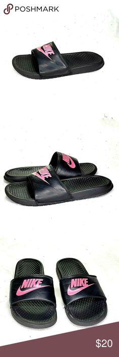 new concept b7357 5e27c Nike Benassi JDI Swoosh Slide Sandals Black Pink Nike Benassi JDI Swoosh  Slide S - Nike