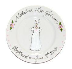 Hand-Painted Custom Baptism Plate (Girl)