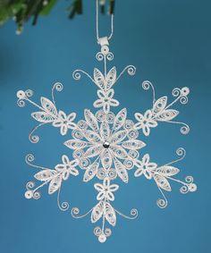 "Stunning Stellar Dendrite Snowflake - White Quilled / Filigree ""Lacy Snowflake"" - Christmas Holiday Tree Ornament. $16.25, via Etsy."