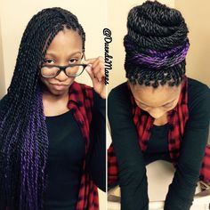 "Duende Manes by Shawn Flowers on Instagram: ""Peek-a-boo  Senegalese Twists with a peek of purple. A splash of color is subtle and fun. These were installed 11 days ago and can now safely be put up into firmly gathered styles. I love it when my girls trust me and preserve their edges!! True protective styling protects your real hair! Pretty Princess : Heavyn #DuendeManes ✨ #protectivestyles #senegalesetwists #noonch"""