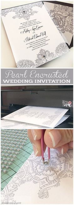 See how to transform a printable lace invitation from elegant to ooh la la with stick-on pearls. Simply stunning. Get the template at DownloadandPrint.com under PROJECTS.