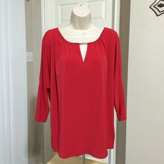 "Michael by Michael Kors Macintosh Red slinky tunic NEW WITH TAGS, Michael by Michael Kors Macintosh Red slinky tunic blouse with slit shoulders.  RETAILS @ $99.50  • Size Large • Color: Macintosh (Red) • Bust: 52"" (or 26"" across) • Length: 26"" • 3/4 sleeves • Slit shoulders • 94% Polyester / 6% Elastane  ❌ NO TRADES MICHAEL Michael Kors Tops Tunics"