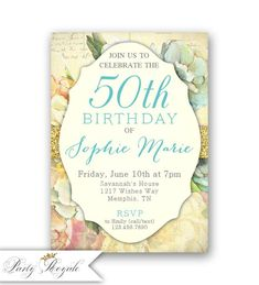 Vintage Floral Birthday Invitations for Women, Adult Birthday Invitation, Birthday Dinner, Surprise Party Invites, Printable or Printed 90th Birthday Invitations, 50th Birthday, Invites, Digital Invitations, Printable Invitations, Fine Stationery, Birthday Dinners, Vintage Floral, Etsy