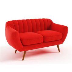 ACHICA | Azurre 2 Seater Sofa, Orange