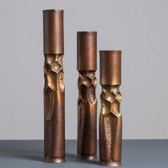 Thomas Markusen; Bronze Candle Holders, 1970s.