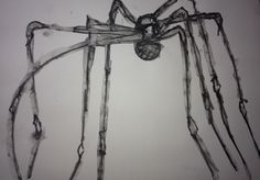 a sketch of Louise Bourgeois's sculpture 'Maman' water soluble graphite A3
