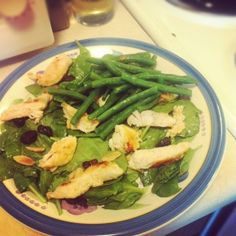 Seared Chicken Salad with Green Beans, Almonds, and DriedCherries