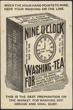 Nine o'clock Washing-Tea [back], 1870-1900 - Advertising cards (19th Century American Trade Cards, Boston Public Library)