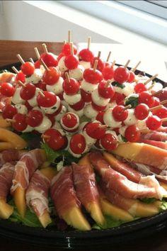Antipasto ... Melon W/prosciutto, fresh mozzarella, tomatoes ....