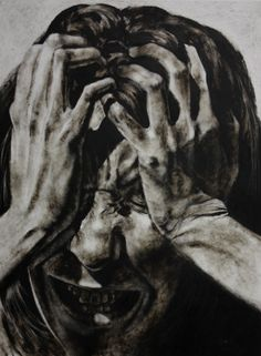 "Clara Lieu, Self-Portrait No. 15, etching ink and lithographic crayon on Dura-Lar, 48"" x 36"", 2011"