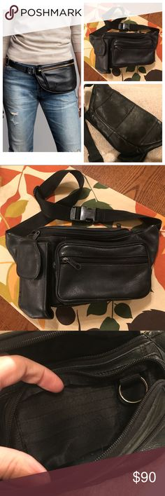 Black Leather Fanny Pack Fanny Packs are back!!! This Wilsons black genuine leather fanny pack has tons of zippers and pockets, credit card slots and a key fob. Also has a cell phone pocket that holds my iPhone 7 with slim case. Adjustable strap. Stock pics are great styling options! In excellent condition! No trades, thank you. Wilsons Leather Bags