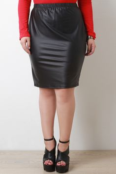 Vegan Leather Pencil Cut Zip-Up Skirt
