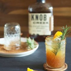 A tasty cocktail made with bourbon and apple cider. Perfect for autumn celebrations!