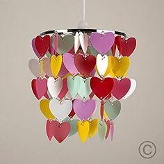 Mehrfarbiger und moderner Lampenschirm mit rosa, weißen und gelben Herzchen aus Acryl -- für Hänge- und Pendelleuchte