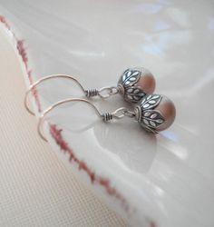 Powder Almond Pearl  Drop Earrings In Sterling by AnechkasJewelry, $17.00