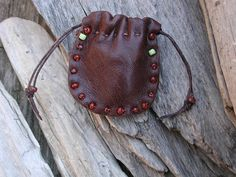 Leather Pouch Bag  Drawstring Pouch  by Shirlbcreationstoo on Etsy, $18.00