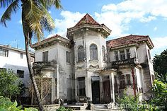 Old abandoned house closeup in Havana