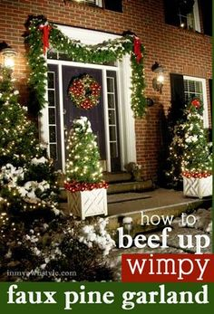 How to beef up wimpy faux pine Christmas Garland so it looks lush and full + other holiday decorating tips and Exterior Christmas decorating tips and tricks. Christmas Front Doors, Christmas Porch, Christmas Tree Themes, Noel Christmas, Thanksgiving Decorations, Christmas Lights, Christmas Wreaths, Cheap Christmas, Christmas Ideas