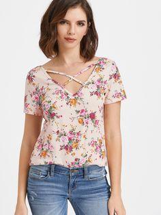 0d0f15ddfd Camiseta con cuello en V y tiras cruzadas y estampado floral - rosa-Spanish  Romwe