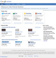Comparison Ads, In limited beta with limited verticals, but this is still a fascinating ad model. Cost-per-lead model that shows the searcher an offer with comparison to other companies. In the finance industry, the current advertising testers, consumers can compare rates and offers for credit cards, CD, checking account, and savings accounts.