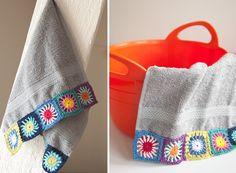 Crochet Edgings Ideas towels with granny square trim Crochet Crafts, Crochet Yarn, Easy Crochet, Crochet Projects, Free Crochet, Crochet Towel, Crochet Granny, Stitch Patterns, Crochet Patterns
