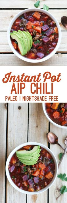 Instant Pot Chili & The Paleo/AIP Instant Pot Cookbook Launch Instant Pot Autoimmune Paleo Chili (Nightshade Free)Instant Pot Autoimmune Paleo Chili (Nightshade Free) Autoimmun Paleo, Paleo Chili, Paleo Soup, Beet Soup, Eating Paleo, Vegetarian Cooking, Healthy Recipes, Real Food Recipes, Diet Recipes