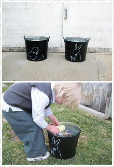 chalk-paint buckets for easter (any occasion would be wonderful.)