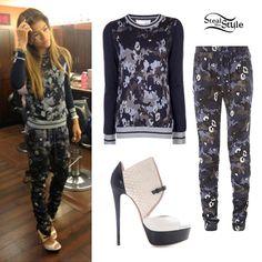 Zendaya: Blue Camo Sweater & Pants