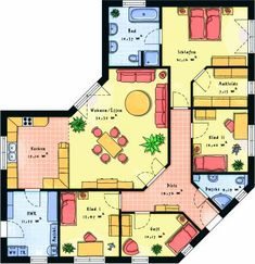 Prefabricated house bungalows & corner bungalows House view: Floor plan 1 – Houses interior designs – Famous Last Words Sims House Plans, Dream House Plans, Small House Plans, Bungalow Floor Plans, House Floor Plans, Building Plans, Building A House, The Plan, How To Plan