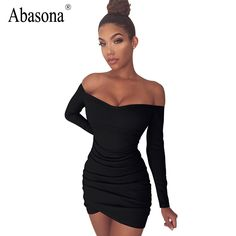 >> Click to Buy << Abasona Summer bodycon mini dress 2017 Strapless black white casual pleated stretchy womens clothing sexy club party dresses #Affiliate