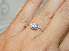 Dazzling promise ring solitaire setting on Etsy, $49.00