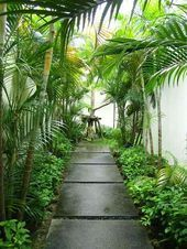 Tropical garden in the back yard Tropical Garden Design, Tropical Backyard, Backyard Garden Design, Garden Landscape Design, Small Garden Design, Tropical Gardens, Bali Garden, Dream Garden, Garden Paths
