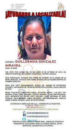 EDAD: 39 AÑOS. FUE VISTA POR ÚLTIMA VEZ: EL DIA LUNES 20 DE OCTUBRE DE 2014, EN ARROYO CHAPISTLE, SAN ANDRES IXTLAHUACA, CENTRO, OAXACA.- http://www.pixable.com/share/5YZUU/?tracksrc=SHPNAND2&utm_medium=viral&utm_source=pinterest
