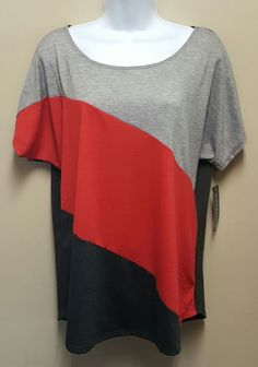 NWT Notations LARGE Colorblock Shirt Knit Top Blouse Red Gray Lightweight #Notations #KnitTop #Casual