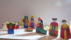 Wooden Christmas Nativity Set of 11 Handmade.Holy Family South America EC