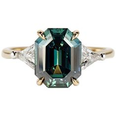 Cushla Whiting 4.27 Carat Blue Green Sapphire 'Marni' Engagement Ring | From a unique collection of vintage engagement rings at https://www.1stdibs.com/jewelry/rings/engagement-rings/ #vintagerings