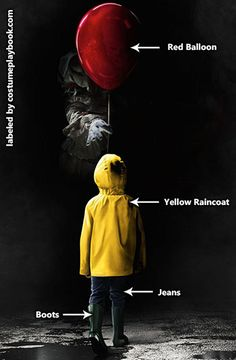 Probably the most popular horror movie of 2017 - dress up as Pennywise or Georgie! Costume guide here: http://costumeplaybook.com/movies/3906-it-2017-movie-costumes/