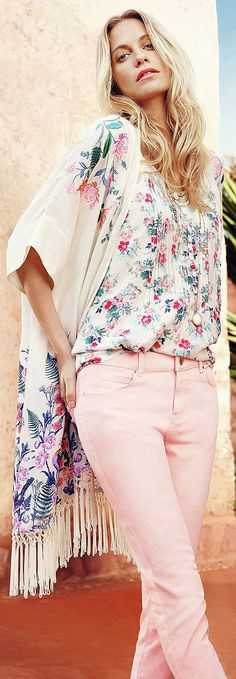 (wear with white gauzy or lacy pants) embroidered kimono - read about florals for spring & summer - http://www.boomerinas.com/2015/04/07/7-florals-for-spring-summer-color-your-wardrobe/