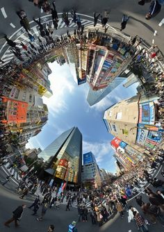 This is a circle panorama that turns the world upside down.