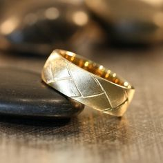 Unique Mens Wedding Band 14k Yellow Gold Recycled Gold Ring Matte Gold Ring Geometric Ring (Other Metals Ring Engraving Available)