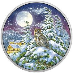 Glow-In-The-Dark Coin - Animals in The Moonlight Series: Great Horned Owl - Royal Canadian Mint 2 Oz. Owl Species, Canadian Coins, Great Horned Owl, Led Christmas Lights, The Great White, Funky Art, Old Coins, Owl Art, Coin Collecting